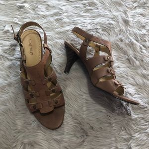 Nine West Brown Leather Heeled Sandals